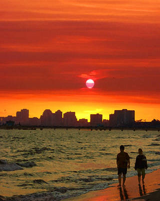 Belmont Shore Sunset Poster by Timothy Bulone