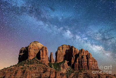 Below The Milky Way At Cathedral Rock Poster