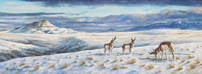 Poster featuring the painting Belt Butte Winter by Kim Lockman