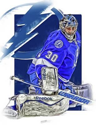 Ben Bishop Tampa Bay Lightning Oil Art Poster by Joe Hamilton