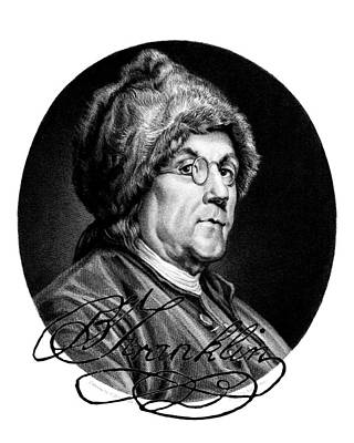 Ben Franklin Autographed Poster by John Feiser