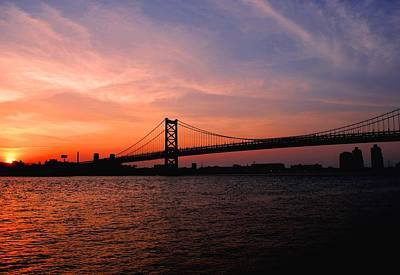Ben Franklin Bridge Sunset Poster
