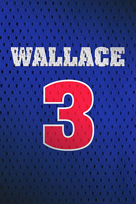 Ben Wallace Detroit Pistons Number 3 Retro Vintage Jersey Closeup Graphic Design Poster by Design Turnpike
