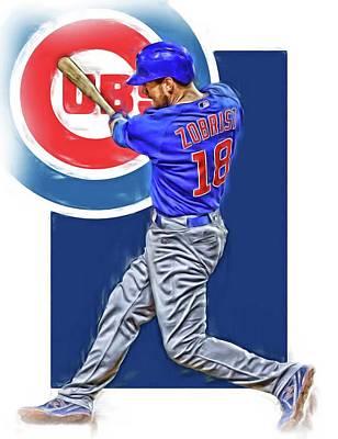 Ben Zobrist Chicago Cubs Oil Art Poster by Joe Hamilton