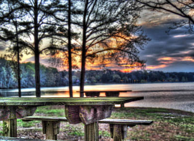 Bench By Lake Poster