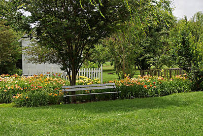 Bench In The Garden Poster by Sandy Keeton
