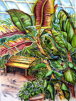 Bench In The Pacific Room Poster by Helen Kern