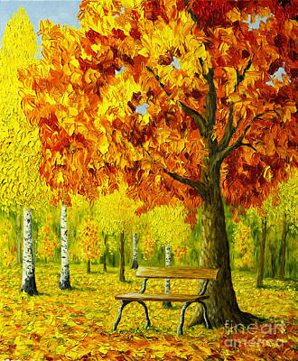 Bench Under The Maple Tree Poster by Veikko Suikkanen