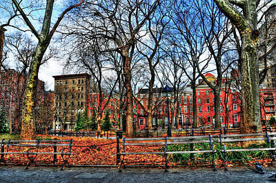 Bench View In Washington Square Park Poster by Randy Aveille