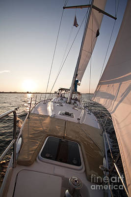 Beneteau 49 Sailing Yacht Close Hauled Charleston Sunset Sailboat Poster by Dustin K Ryan