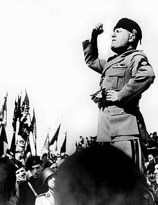 Benito Mussolini, Speaking Poster by Everett