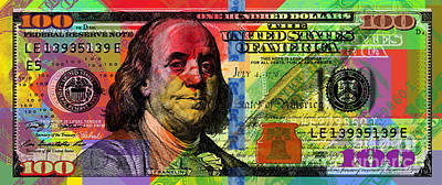 Benjamin Franklin $100 Bill - Full Size Poster