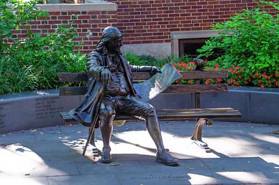 Benjamin Franklin On A Park Bench Poster
