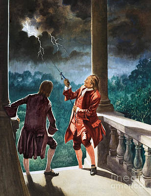 Benjamin Franklin Proves That Lightning Is Electricity Poster