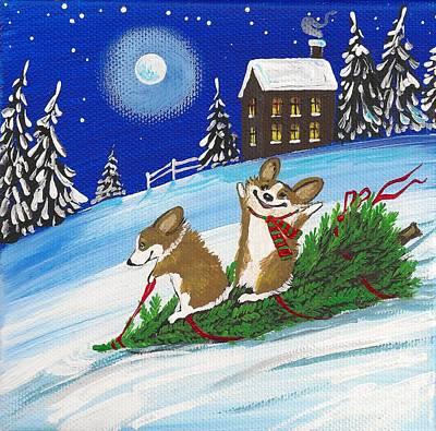Bennie And Bunny Christmas Tree Ride Poster by Margaryta Yermolayeva