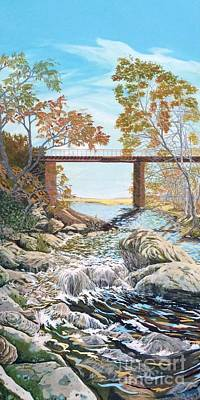 Poster featuring the painting Bennington Riverbed by Gail Allen