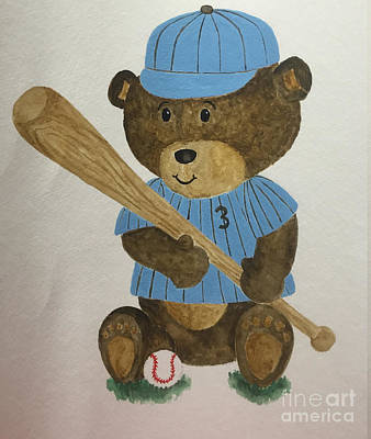 Poster featuring the painting Benny Bear Baseball by Tamir Barkan
