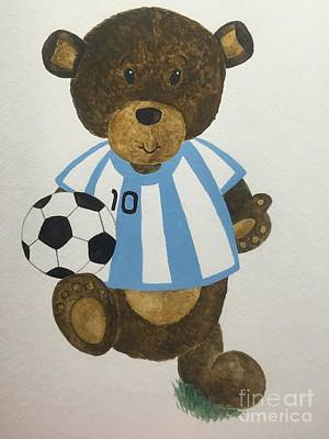 Poster featuring the painting Benny Bear Soccer by Tamir Barkan