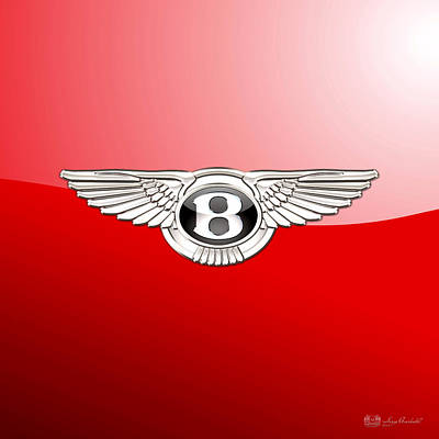 Bentley 3 D Badge On Red Poster by Serge Averbukh
