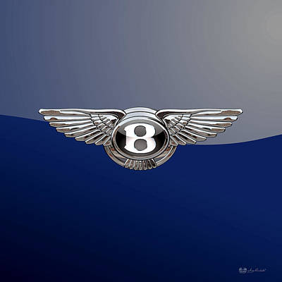 Bentley 3 D Badge Special Edition On Blue Poster