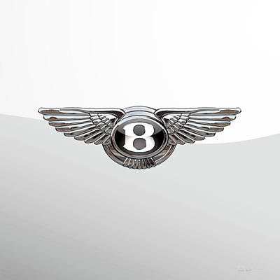 Bentley 3 D Badge Special Edition On White Poster