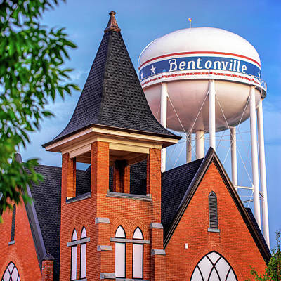 Poster featuring the photograph Bentonville Arkansas Cityscape Church Water Tower by Gregory Ballos