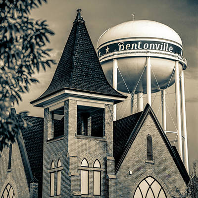 Poster featuring the photograph Bentonville Arkansas Cityscape Church Water Tower - Sepia by Gregory Ballos