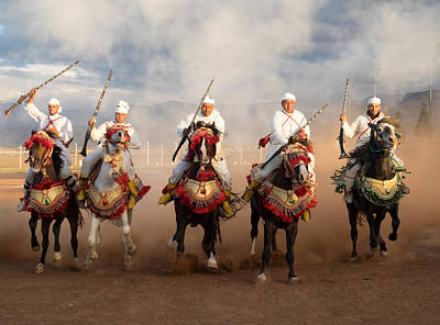 Berber Horseman Pulling Up After Firing Poster by Panoramic Images