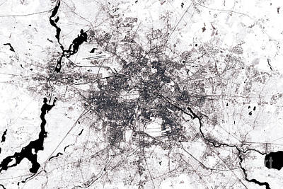Berlin Abstract City Map Black And White Poster by Frank Ramspott