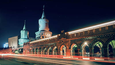 Berlin At Night - Oberbaum Bridge Poster by Alexander Voss