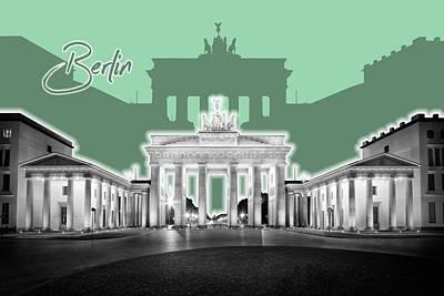 Berlin Brandenburg Gate - Graphic Art - Green Poster by Melanie Viola