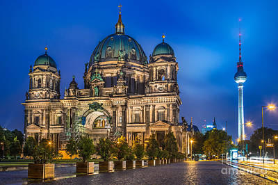 Berlin Cathedral With Tv Tower At Night Poster by JR Photography