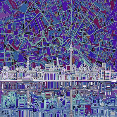 Berlin City Skyline Abstract 3 Poster by Bekim Art