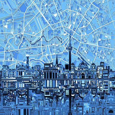 Berlin City Skyline Abstract Blue Poster by Bekim Art