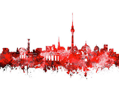 Berlin City Skyline Red Poster by Bekim Art