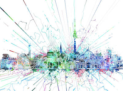 Berlin City Skyline Watercolor 3 Poster by Bekim Art