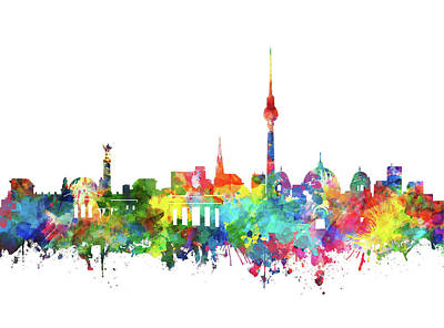 Berlin City Skyline Watercolor Poster by Bekim Art