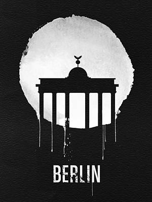 Berlin Landmark Black Poster by Naxart Studio