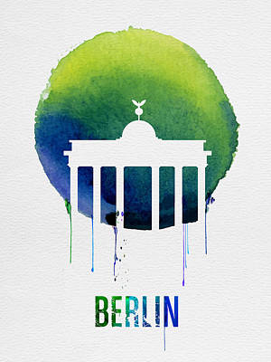 Berlin Landmark Blue Poster by Naxart Studio