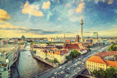 Berlin Skyline Poster by Taylan Apukovska