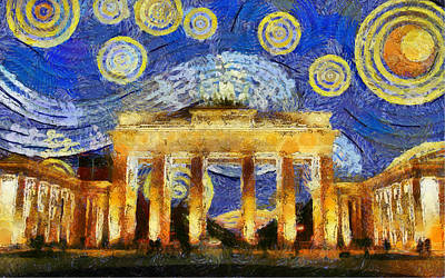 Berlin Starry Night Poster by Sly Morosow