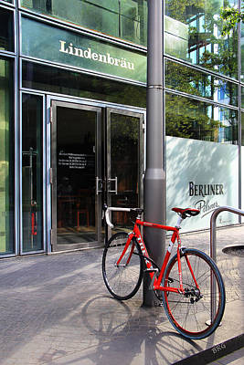 Berlin Street View With Red Bike Poster by Ben and Raisa Gertsberg