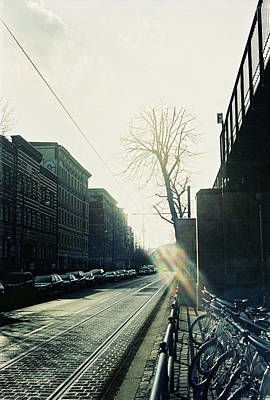 Berlin Street With Sun Poster