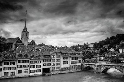 Bern Switzerland In Black And White  Poster