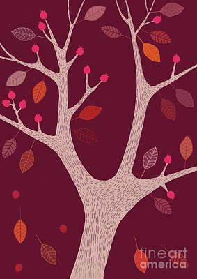 Berry Tree Claret Poster