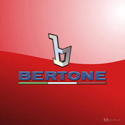 Bertone 3 D Badge On Red Poster by Serge Averbukh