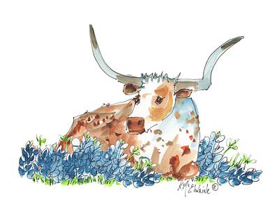 Bessie In The Bluebonnets Watercolor Painting By Kmcelwaine Poster by Kathleen McElwaine