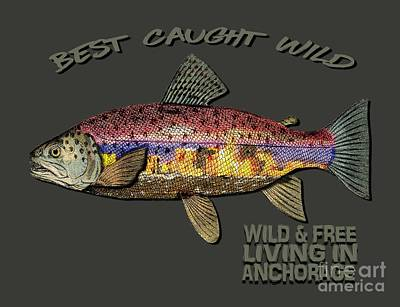 Fishing - Best Caught Wild-on Dark Poster by Elaine Ossipov