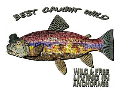 Fishing - Best Caught Wild On Light Poster by Elaine Ossipov