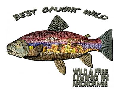Fishing - Best Caught Wild - On Light No Hat Poster by Elaine Ossipov